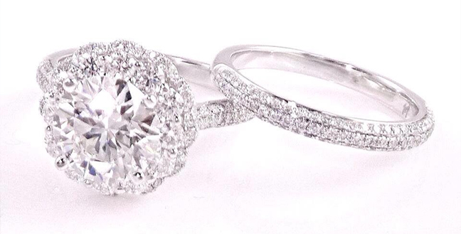 Custom Design Halo Engagement Ring with Matching Wedding Band. Center Diamond: 3.00 Carat Round Brilliant Cut.