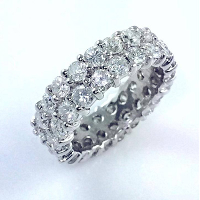 Double row diamond eternity wedding band set with 4.32 carat round brilliant cut diamonds