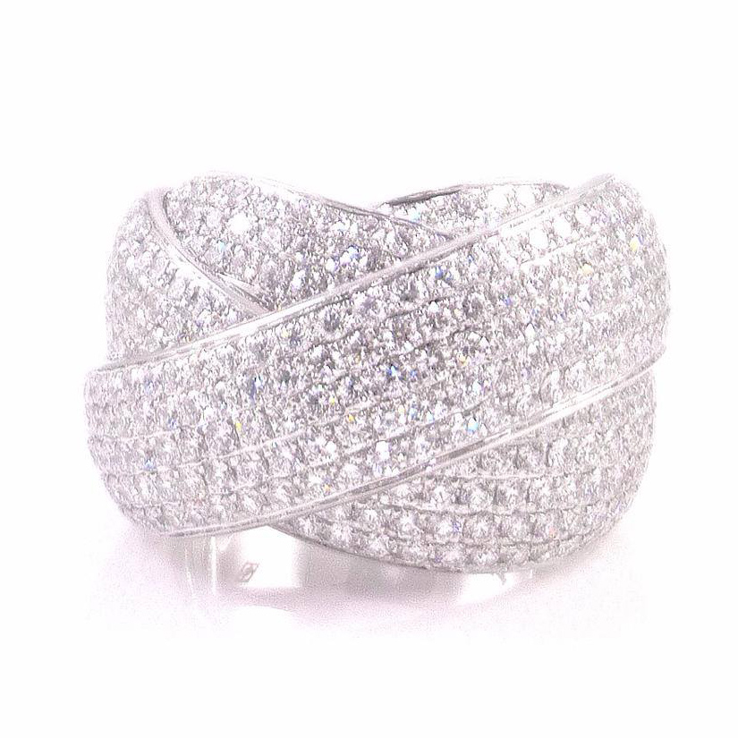 Gorgeous fancy 3D pave diamond cocktail ring. Pave set with round brilliant cut diamonds. Total diamond carat weight: 8.00 ct